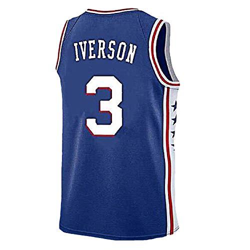 Mens Iverson Jersey Philadelphia 3 Basketball Jersey Allen Adult Sports Jerseys(S-XXL) (XL, Blue)
