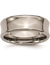 titanium concave 8mm polished beveled edge wedding ring band by chisel size 6 14 - Titanium Wedding Rings For Men