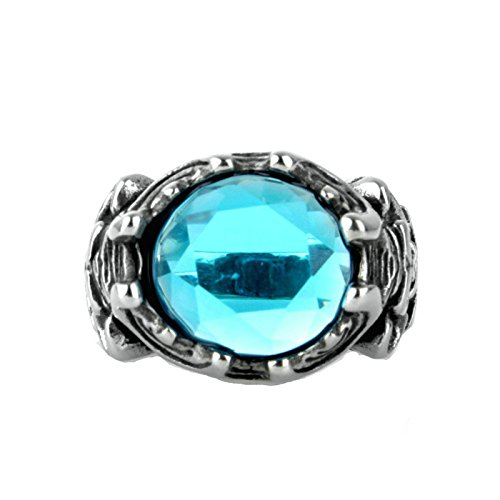 - MoAndy Fashion Ring Men Stainless Steel Vintage Retro Silver Sapphiry Skull Ring 3CM Size 10