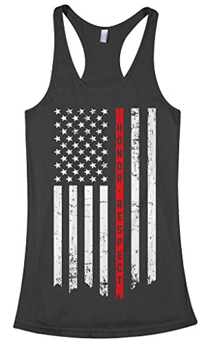 Threadrock Women's Honor & Respect Thin Red Line Flag Racerback Tank Top M ()