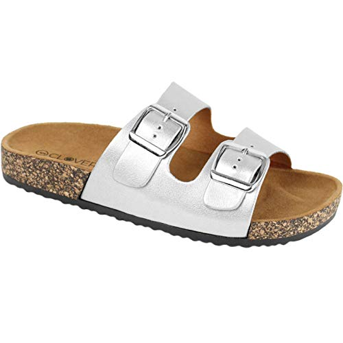CLOVERLY Comfort Low Easy Slip On Sandal - Casual Cork Footbed Platform Sandal Flat - Trendy Open Toe Slide Sandal Shoes (8 M US, Silver)