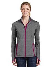Sport-Tek Women's Contrast Full-Zip Jacket_Charcoal Grey Heather/ Pink Rush_4XL