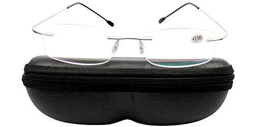 SOOLALA High End Lightweight Titanium Stainless Steel Rimless Reading Glasses (Silver w/hard case, 2.0)