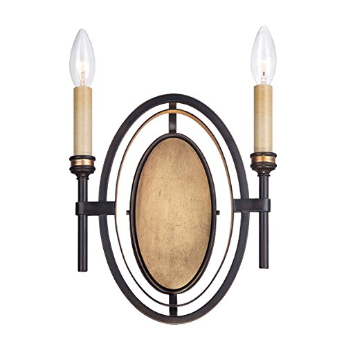 (Eurofase 25644 Infinity 2-Light Wall Sconce, Oil Rubbed Bronze/Gold Leaf)