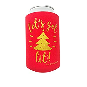 Holiday Festive Can Coolers - 6 Pack | Let's Get Lit Christmas Stocking Stuffer Gifts | Funny Ugly Xmas Sweater Party Prize, Decor, Novelty Favors, Decorations, Supplies for Beer, Drink, Bottle