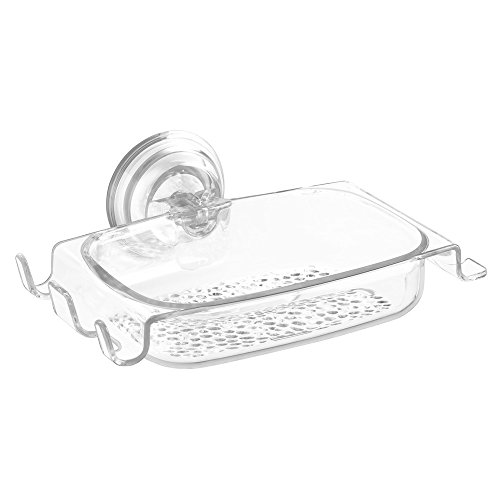 InterDesign Rain Power Lock Suction, Soap Dish, Clear
