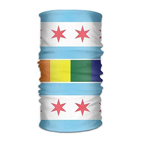 Unisex Chicago Rainbow Flag Multifunction Changed Headwear Headscarf Bandanas 9.8 X 19.5 inch]()