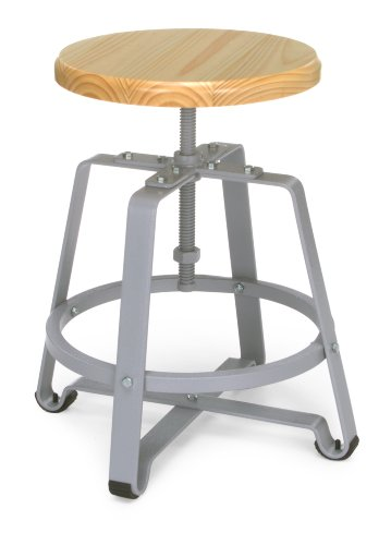 OFM 921-MPL Metal Stool Chair with Maple Seat and Gray Legs
