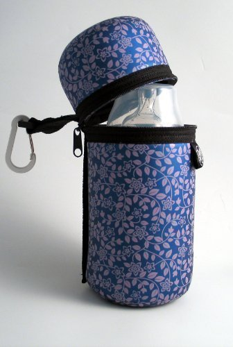 Butler bottle holder purple flower - thermal, machine washable and easy to carry by Duck Soup Co
