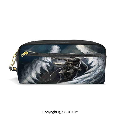 Majestic Angel Fish - PU Leather Student Pencil Bag Multi Function Pen Pouch Angel Knight with Majestic Wings Spiritual Superior Power Imagination Art Print Office Organizer Case Cosmetic Makeup Bag
