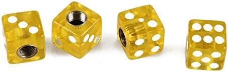 REFURBISHHOUSE 自動車のタイヤバルブキャップカバー ダイスの形 黄色 4件