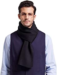 Taylormia Men's Winter Fashion Cashmere Feel Solid Color Scarf Warm Soft Wool Knit Scarves(Bl