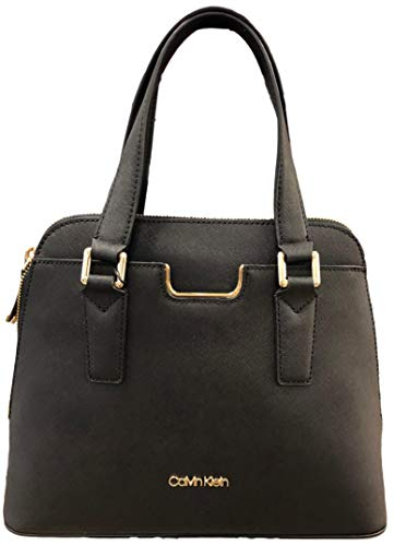 Calvin Klein Women's Saffiano Leather Satchel Metal Trim Pocket, Black (Handbag Trim Satchel)
