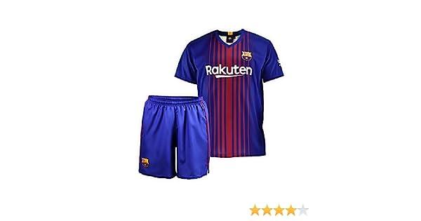 Conjunto - Kit 1ª Equipación Replica Oficial FC BARCELONA 2017-2018 Sin Dorsal LISO - Tallaje NIÑO (4 AÑOS)