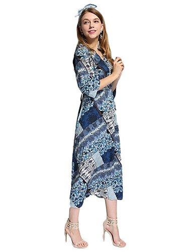 PU&PU Robe Aux femmes Gaine Simple / Street Chic,Imprimé Col en V Midi Polyester , blue-s , blue-s