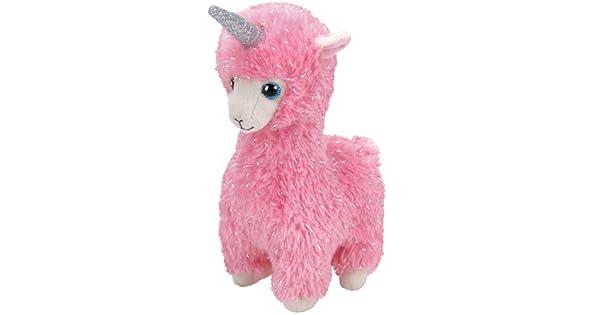 Amazon.com: T&Y Ty Beanie Babies Lana - Lama rosa con cuerno ...