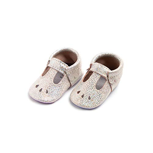 Freshly Picked - Rubber Mini Sole Leather Mary Jane Moccasins - Toddler Girl Shoes - Size 5 Rose Quartz Pink