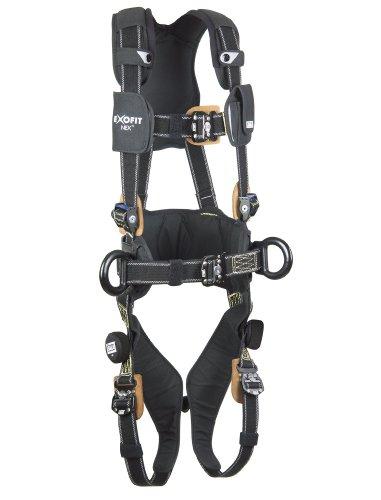3M DBI-SALA ExoFit NEX 1113317 Full Body Nomex/Kevlar Arc Flash Harness, PVC Coated Alum Back/Side D-Rings, Belt w/ Pad, Comfort Pad, Locking QC Leg Straps, Large, Black ()