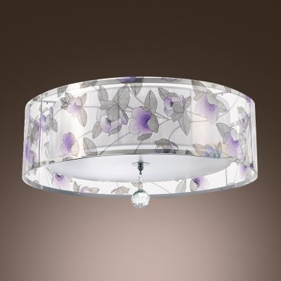 (hua Purple Flowers Pattern Sheer Shade and Clear Crystal Drop Add Elegance to Contemporary Three Light Flush Mount Ceiling Light)