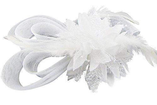 [Zking Women Fascinator Hair Pillbox Rose Veil Cocktail Party Wedding Hat (A-white)] (White Top Hat Fascinator)