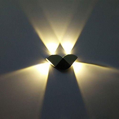 Powstro Up Down LED Wall Light, Aluminum Modern 4W 4-LED Wall Light Wall Lamp Indoor Outdoor AC 85-265V (Warm White)