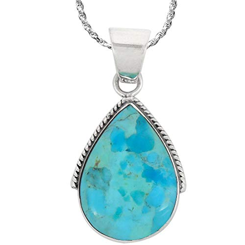 Turquoise Necklace Pendant 925 Sterling Silver Genuine Gemstones (with 20
