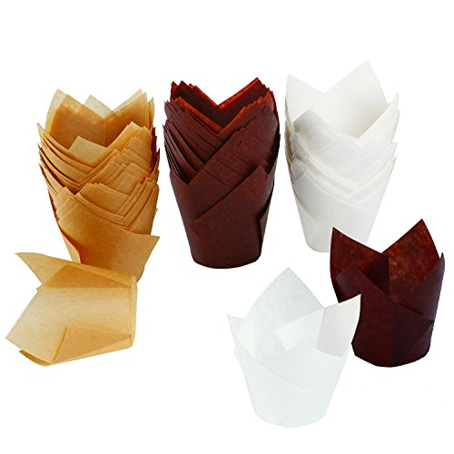 Resinta 150 Pieces Tulip Baking Paper Cups Cupcake Muffin Liners Wrappers, Brown, Natural and - Liners Cups Papers Baking