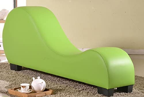 US Pride Furniture Faux Leather Stretch Chaise Relaxation and Yoga Chair, Green