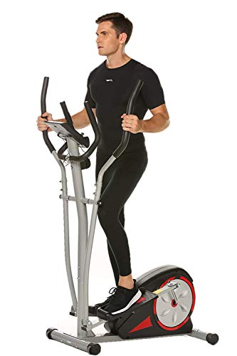 FUNMILY Elliptical Machine with LCD Monitor, Pulse Rate Grips and Tablet Holder, Magnetic Smooth Quiet Driven,8-Level Magnetic Resistance,13-inch Stride Length