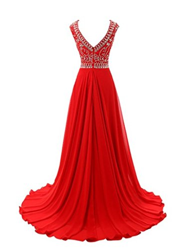 Kleid lang Hals Abend Party Dance Diamant emmani Rund Rot Damen fq5wxwp8