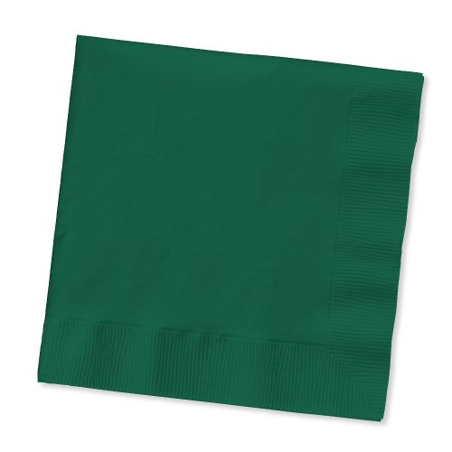 Creative Converting Touch of Color 2-Ply 50 Count Paper Beverage Napkins, Hunter Green - 803124B