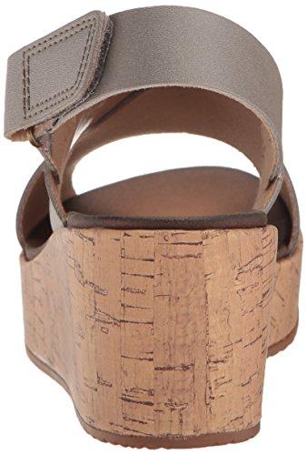 CLARKS Women's Stasha Hale4 Wedge Sandal Silver/Metallic Leather with paypal 16Zcg