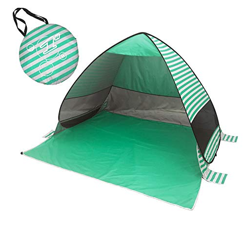 Lightahead Automatic Pop Up UV Resistant (UV50+) Sun Shade Portable Camping Tent Picnicing Fishing Hiking Canopy Easy Setup Outdoor Cabana Tents with Carry Bag (Large 3P, Stripe Green)