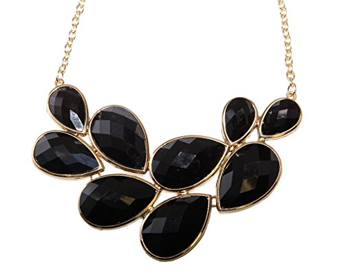 Lux Accessories Faceted Black Teardrop Stone Bib Gold Chain Necklace (Bib Drop Necklace)