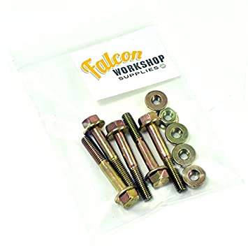 Pack of 5 x M8 x 50mm Yellow Zinc Flanged Hex Head Bolts & Non-Serrated Flange Nuts Falcon Workshop Supplies Ltd