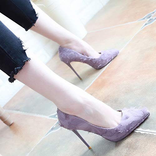 Heel Five Violet Shoes Shoes Head High Pointed 9Cm Thin Thirty Shoes Shoes Thin Joker Autumn KPHY Shallow Simple Mouth qUTwt