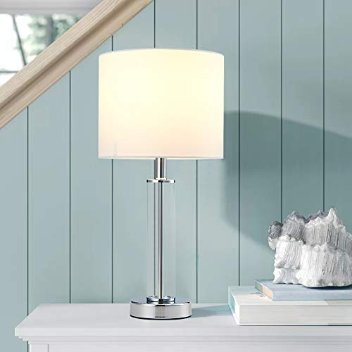 Cuaulans 18 inch High Modern Table Lamp, Cylindrical Glass Table Lamps, Side Desk Lamp with White Fabric Shade and Glass Body, Chrome Finished