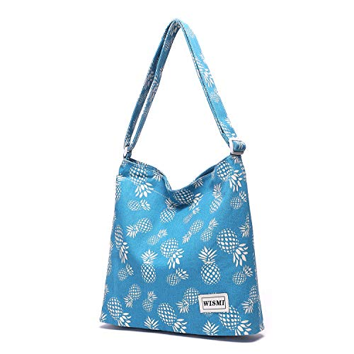 (Women's Patterned Canvas Crossbody Bag Casual Hobo Bag Shoulder Bag Shopping Bag (pineapple passion))