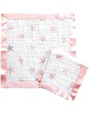 Aden By Aden And Anais Doll Issie Muslin Security Blanket, Pink, White, Pack of 2