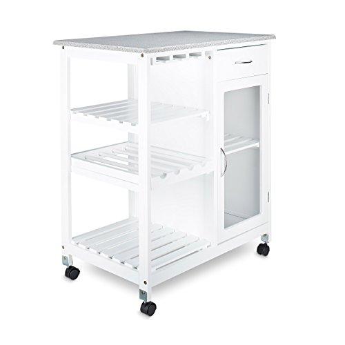 Relaxdays Küchenwagen HxBxT: 88 x 76 x 48 cm mobiler Küchentrolley aus Holz mit 4 Rollen und 3 Ablageflächen als Weinregal mit Flaschenhalter zum Servieren und großzügigem Stauraum mit Schrank, weiß