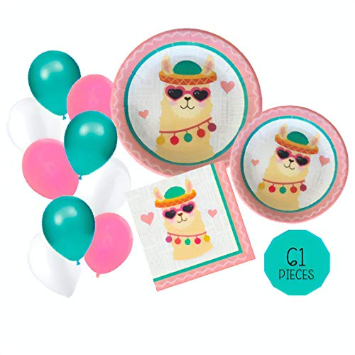 Llama Party Supplies Set - 61pc Decorations Bundle includes Plates and Napkins with Bonus Balloons! - Tableware for 16 - Perfect for Birthdays, Showers, BBQs or Fiestas! Love, Summer ()