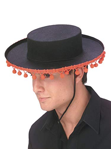 ADULT Spanish Costume Hat with RED Pom Poms (Pom poms are redder than appear in