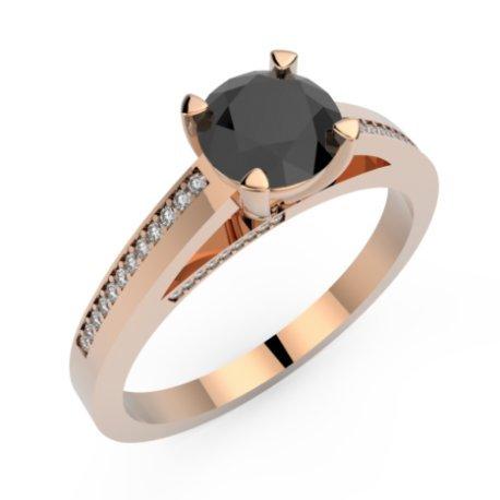 ASHA Bagues Or Blanc 18 carats Diamant Noir 0,8 Rond