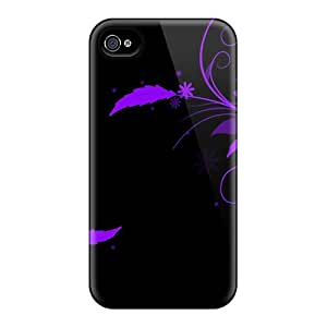 For AMY KS Iphone Protective Case, High Quality For Iphone 4/4s A Purple Spring Skin Case Cover