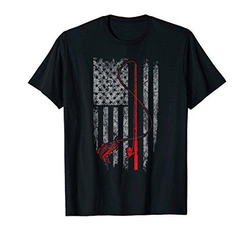 Vintage Fishing Tshirt with American Flag Bass Fishing