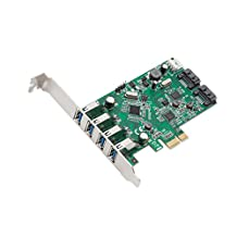 Syba 4-Port USB 3 and 2-Port SATA III PCIe 2 X 1 Card VLI/ASMedia Chipsets with Standard and Low Profile Brackets SD-PEX50064