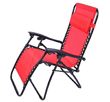 Outsunny Zero Gravity Recliner Lounge Patio Pool Chair, Fire Red