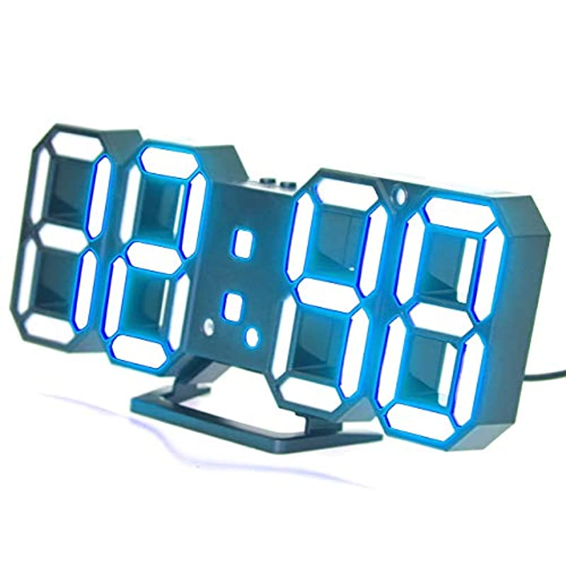 GoodsLand 【 벽걸이 가능 】 LED 탁상시계 디지탈 USB급 전벽시계 벽 시계 멋쟁이 알람 온도 날짜 12H 24H 일본어 설명서 GD-LDGTK-GR