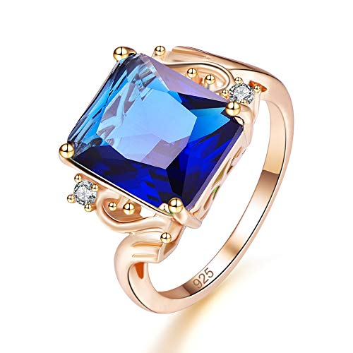 (Mavonne Yellow Gold Plated Radiant Created Sapphire Quartz Promise Ring for Her (Color : Dark Blue, Size : 8))