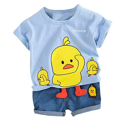 Toddler Baby Kids Boys Cartoon Duck Tops Short Pants Casual Outfits Set]()